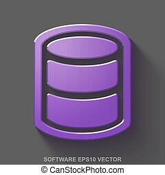 Flat metallic Software 3D icon. Purple Glossy Metal Database on Gray background. EPS 10, vector.