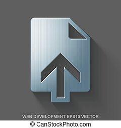Flat metallic web design 3D icon. Polished Steel Upload on Gray background. EPS 10, vector.