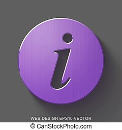 Flat metallic web design 3D icon. Purple Glossy Metal Information on Gray background. EPS 10, vector.