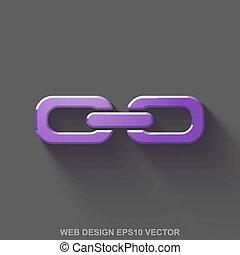 Flat metallic web design 3D icon. Purple Glossy Metal Link on Gray background. EPS 10, vector.