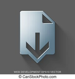 Flat metallic web development 3D icon. Polished Steel Download on Gray background. EPS 10, vector.