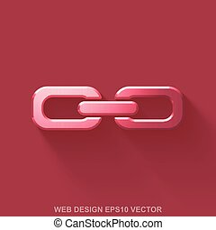 Flat metallic web development 3D icon. Red Glossy Metal Link on Red background. EPS 10, vector.