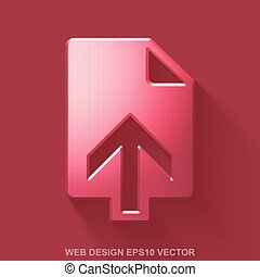 Flat metallic web development 3D icon. Red Glossy Metal Upload on Red background. EPS 10, vector.