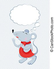 Flat Mice with thought cloud vector illustration. Mouse and thinking bubble