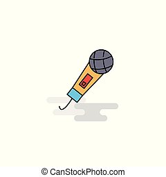 Flat Microphone Icon. Vector