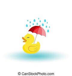 flat., mignon, caoutchouc, rain., vector., parapluie, icon.