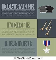 flat military dictator set design concept. Vector...