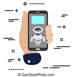 flat minimal hand holding mobile phone with chat robot bot bubble frame icon on white background. bubble droid icon set for websites, blog, mobile interfaces