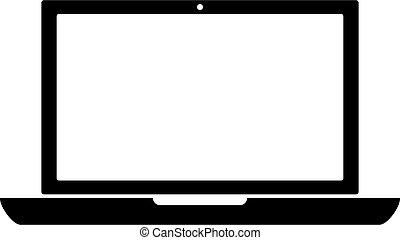 flat minimal laptop icon on white background