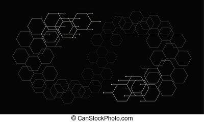 flat minimalism hexagon tech pattern background