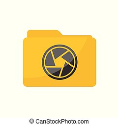 Flat minimalist Camera Shutter Folder icon in rounded square style