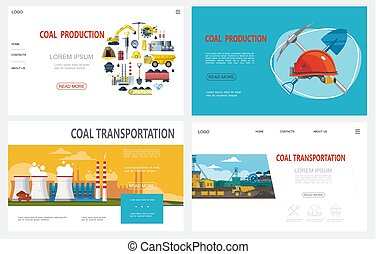 Flat Mining Industry Websites Set