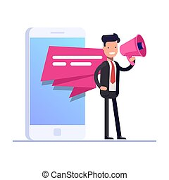Flat mobile advertising concept. Businessman or manager stands with a loudspeaker on the background of a mobile phone. Can use for web banner, infographics, hero images. Vector isolated illustration.