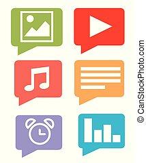 Flat mobile app icon set. Vector illustration isolated on white background