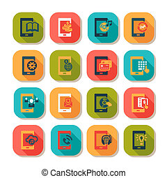 flat mobile icons - Flat Vector Mobile Icons Set.