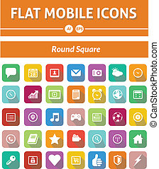 Flat Mobile Icons - Rounded Square