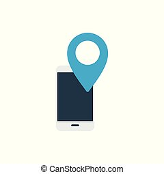 mobile location icon on white background