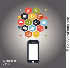 Flat mobile phone vector blue color