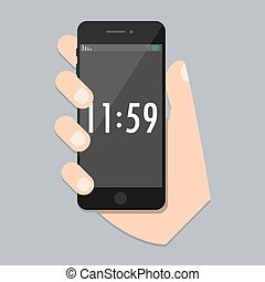 Flat mobile phone with arm and isolated time screen. Smart Phone Icon in iphone style. Trendy vector illustration for web site and mobile development app
