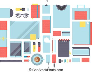 Flat mockup design vector illustration concept icons set of business working elements.