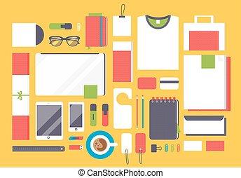 Flat mockup design  illustration concept icons set of business working elements.