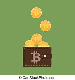 Flat modern design concept of bitcoin cryptocurrency technology, mining, e-wallet