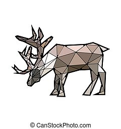 Flat modern design with stained glass deer