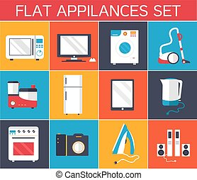 Flat modern kitchen appliances set icons concept. Vector illustration design. Template for website and mobile appliance