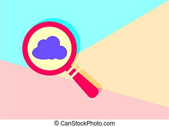 flat modern red magnifying glass with cloud icon on blue and pin