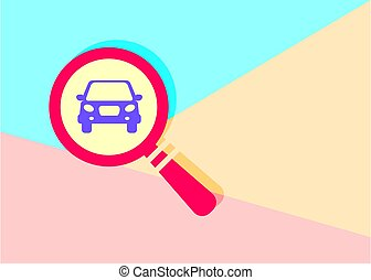 flat modern red  Search concept of rent a car with shadow on blu