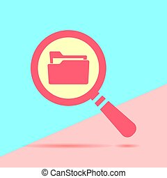 flat modern red  Search concept with folder icon with shadow on