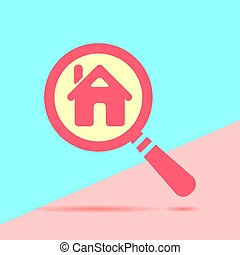 flat modern red  Search conceptof house for rent with shadow on
