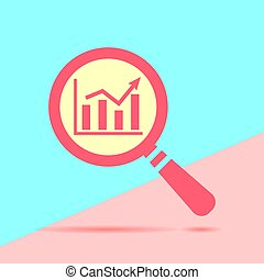 flat modern red search going up graph icon with shadow on blue a