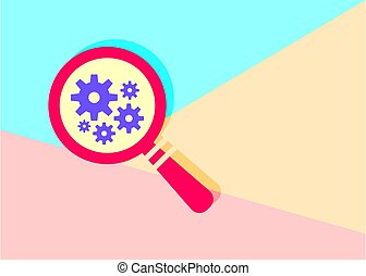flat modern red smagnifying glass with gears icon with shadow on