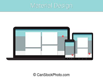 Flat modern responsive material design on various electronic devices