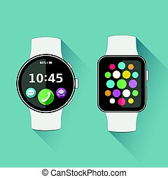 Flat modern smart watch with long shadow