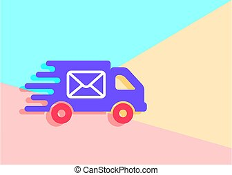 flat modern trand truck with envelope icon on blue and pink past