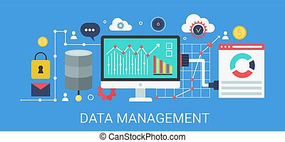 Flat modern vector concept Data management banner with icons and text.