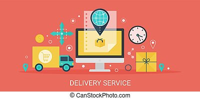 Flat modern vector concept Delivery service banner with icons and text.