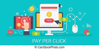 Flat modern vector concept Pay per click banner with icons and text