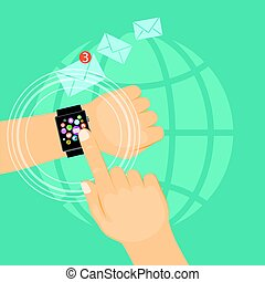 man hand showing e-mail on the smart watch