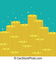 Flat money making background with coins.