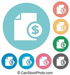 Flat money report icons