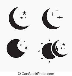 Flat Moon Icon. Night symbol