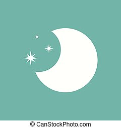 Flat Moon Icon. Night symbol.