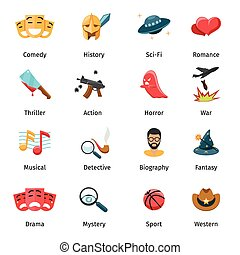 Flat movie genres vector icons. Sport and mystery, drama and...