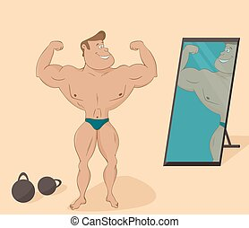 flat muscular sports man in the mirror. Cartoon character.