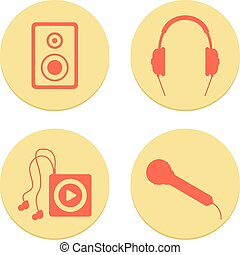 flat musical icons set on white background