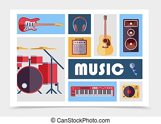 Flat Musical Instruments Set