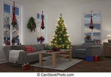 flat, -, nacht, verfraaide, kerstmis, 3d